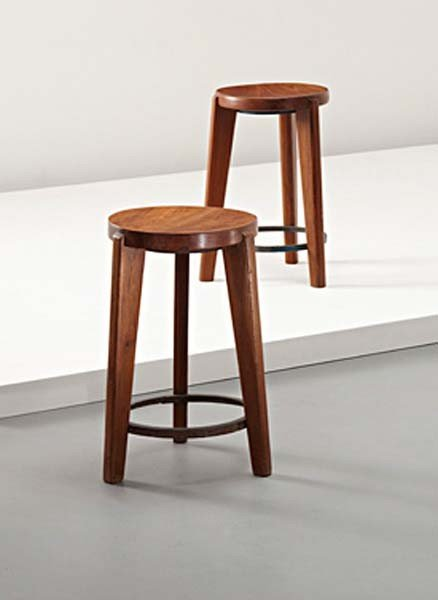 9: PIERRE JEANNERET, Pair of stools, from Chandigarh, I
