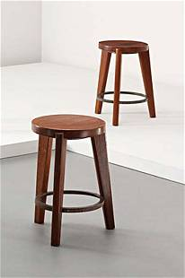 PIERRE JEANNERET, Pair of stools, from Chandigarh,