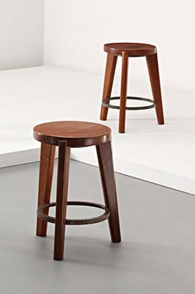 10: PIERRE JEANNERET, Pair of stools, from Chandigarh,