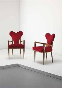"""JEAN ROYÈRE, Rare pair of """"Coeur"""" armchairs, ca. 19"""