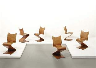 """74: VERNER PANTON, Set of early """"S-chairs,"""" model no. 2"""