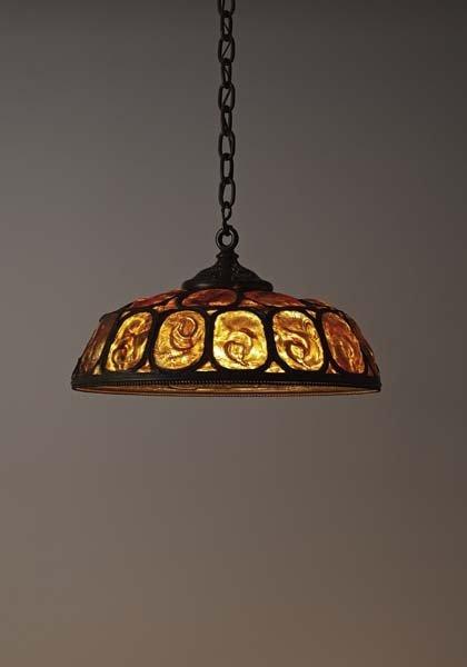 "16: TIFFANY STUDIOS, ""Turtleback"" ceiling light, ca. 19"