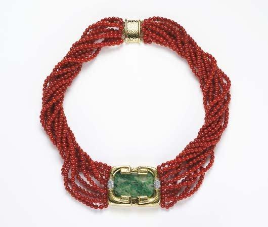1: DAVID WEBB, A Coral, Jade and Diamond Necklace