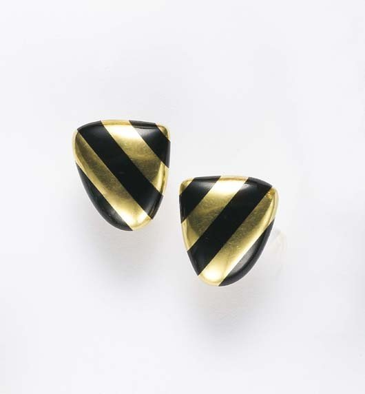 3: TIFFANY & CO, A Pair of Yellow Gold and Enamel Earcl