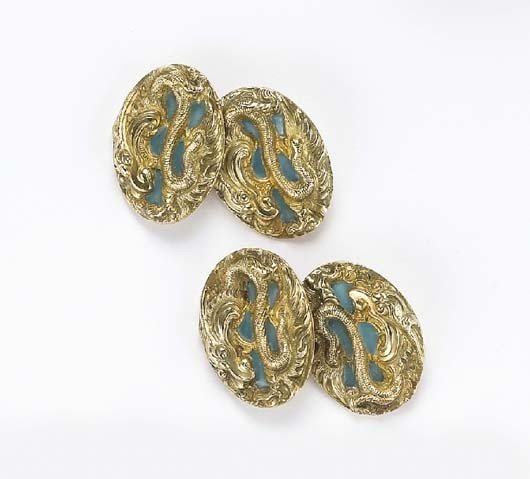 8: A Pair Of Art Nouveau Enamel and Gold  Cufflinks , 1