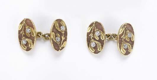 9: A Pair of Art Nouveau Enamel, Diamond and Gold Cuffl