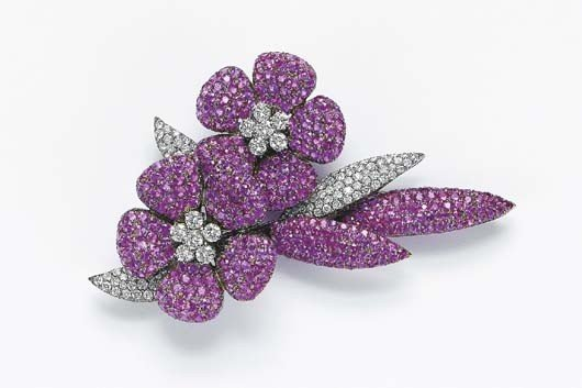 12: A Pink Sapphire and Diamond Flower Brooch