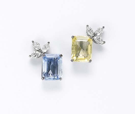 17: A Pair of Yellow and Blue Sapphire and Diamond Earr