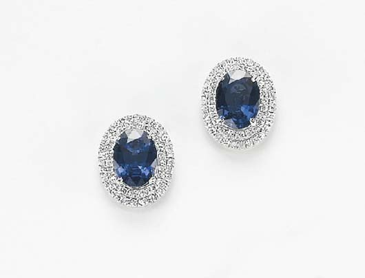 19: A Pair of Sapphire and Diamond Earrings