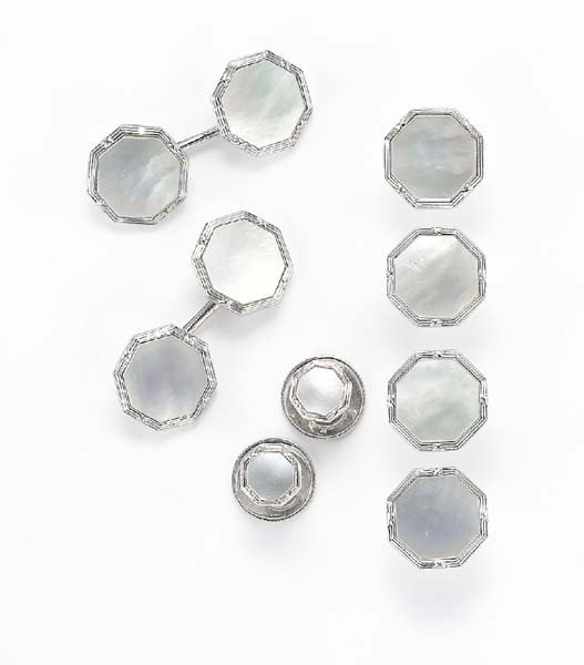 21: A Mother-of-Pearl and White Gold Dress Set