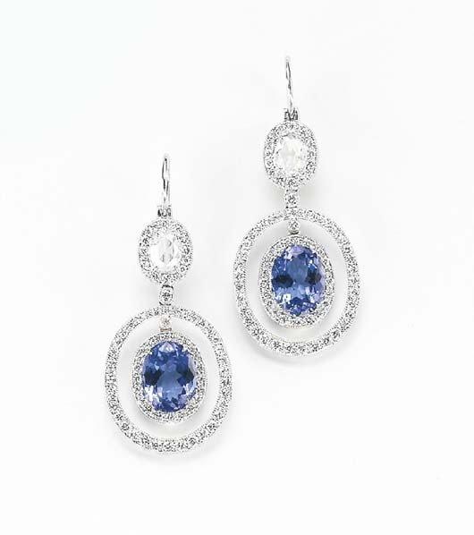 22: A Pair of Tanzanite and Diamond Ear Pendants