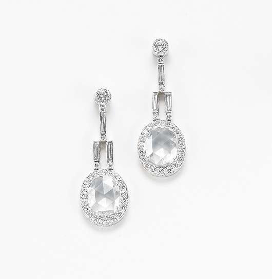 24: A Pair of Diamond Ear Pendants