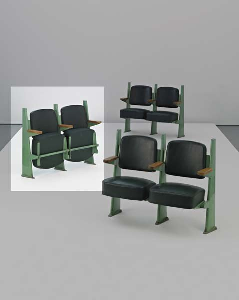 5: JEAN PROUVÉ, Row of two lecture hall chairs with adj
