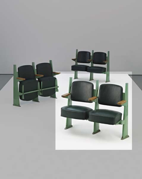 7: JEAN PROUVÉ , Row of two lecture hall chairs with ad