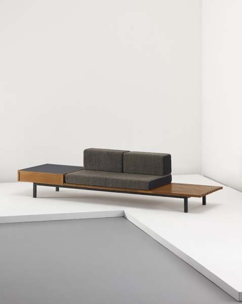9: CHARLOTTE PERRIAND, Bench with drawer and side table