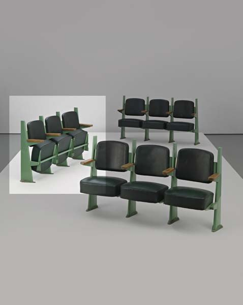 21: JEAN PROUVÉ, Row of three lecture hall chairs with