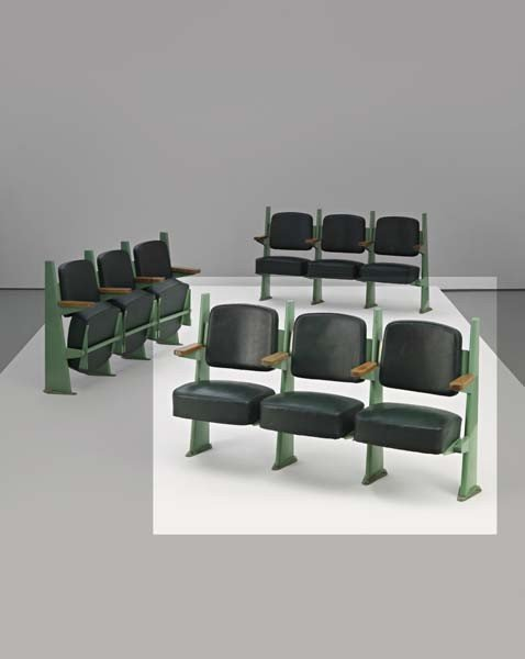 23: JEAN PROUVÉ, Row of three lecture hall chairs with