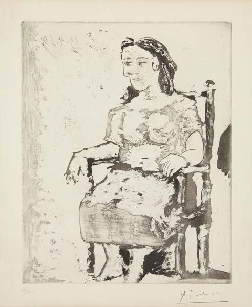 PABLO PICASSO, Femme au fauteuil, 1939/1980