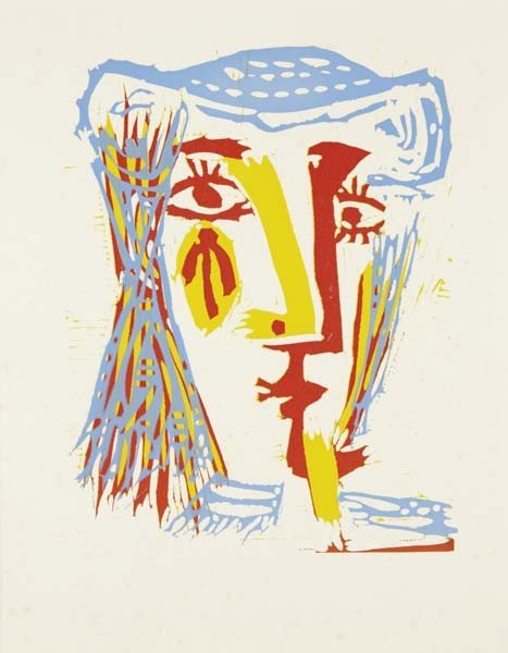 PABLO PICASSO, Femme au chapeau de paille bleue, 1968