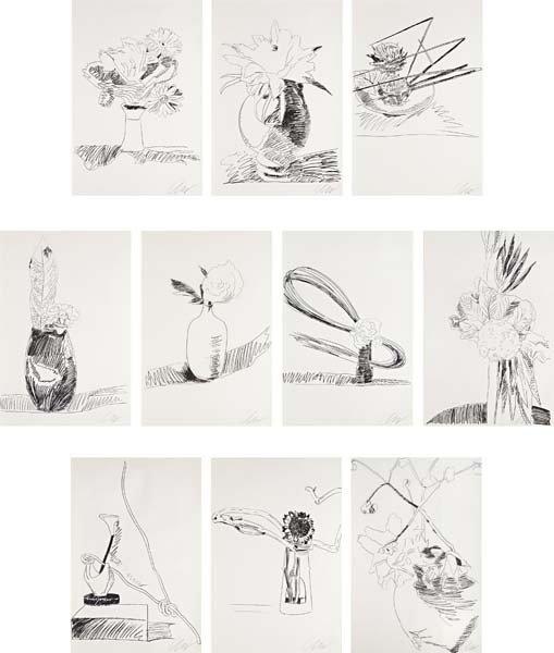 ANDY WARHOL, Flowers (Black and White) portfolio, 1974