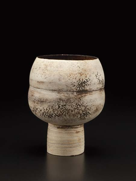 19: HANS COPER, Small buff spherical pot on cylindrical
