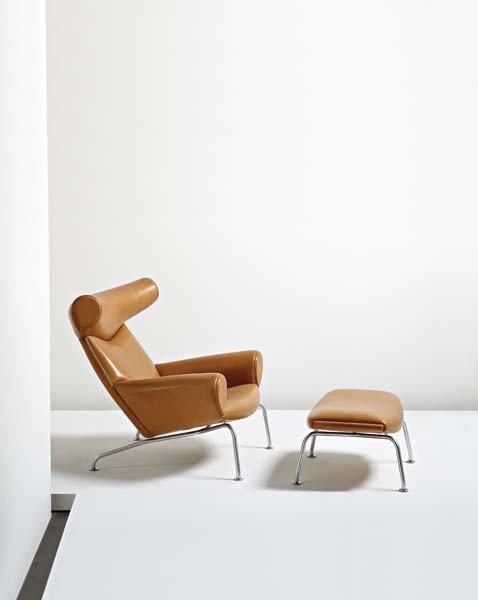 "46: HANS WEGNER, ""Ox"" lounge chair and ottoman, model n"