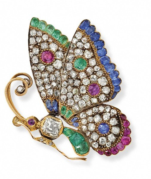 5: A diamond emerald sapphire and ruby butterfly pin