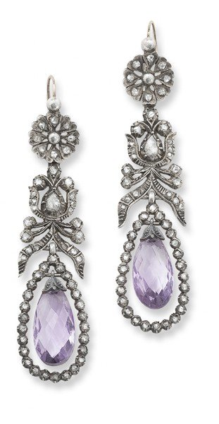 8: A pair of amethyst and diamond ear pendants, 1800