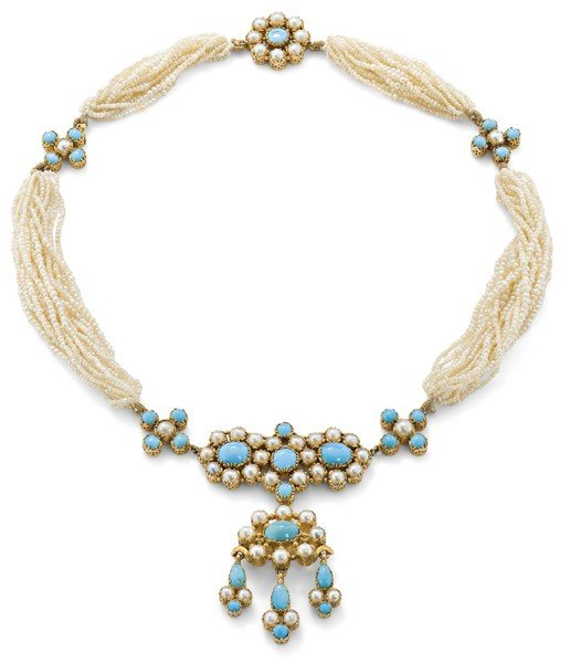 9: An antique seed pearl and turquoise necklace