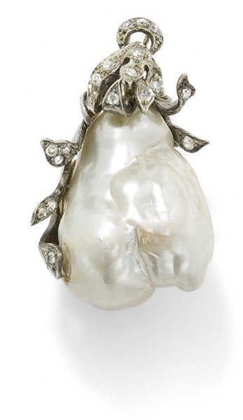 10: A baroque cultured pearl and diamond pendant