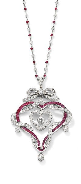 18: A ruby diamond heart pendant necklace