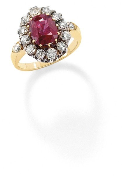 20: A Belle Epoque ruby and diamond ring, 1910