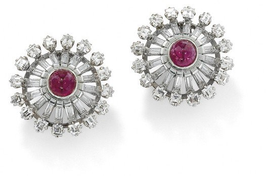 22: A pair of ruby and diamond earclips