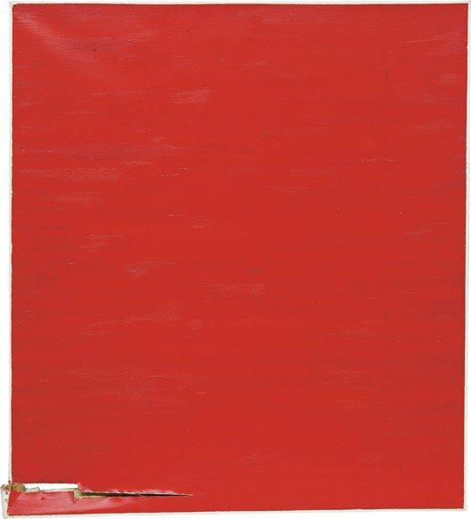 102: ANGELA DE LA CRUZ, Dislocated Painting (red), 2001