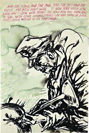 13: RAYMOND PETTIBON, Untitled (And the snow...), 2000