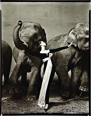 55: RICHARD AVEDON, Dovima with elephants. Evening dre