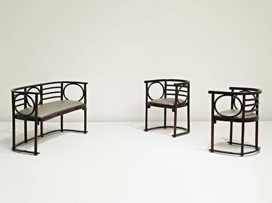 11: ATTRIBUTED TO JOSEF HOFFMANN, Settee and pair of ar