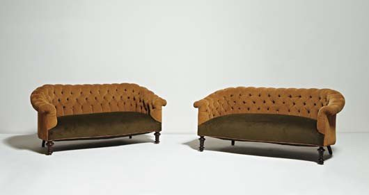 22: Pair of Victorian Chesterfields, ca. 1870