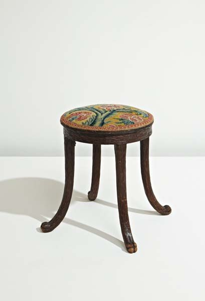 23: Carved continental stool, mid-19th century