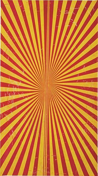 2: MARK GROTJAHN, Untitled (Crimson Red and Canary Yell
