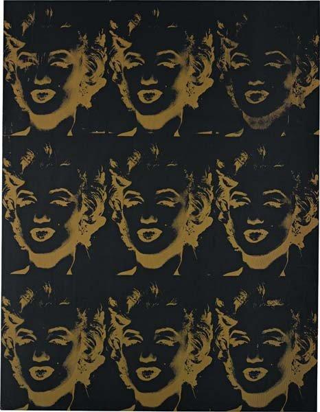 8: ANDY WARHOL, Nine Gold Marilyns (Reversal Series), 1