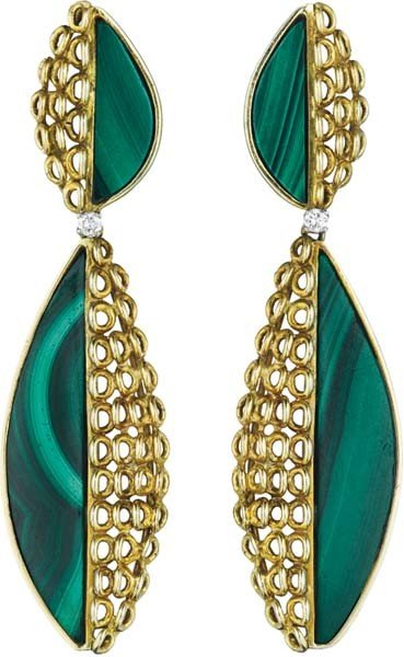 3: A Pair of Malachite, Gold and Diamond Ear Pendants