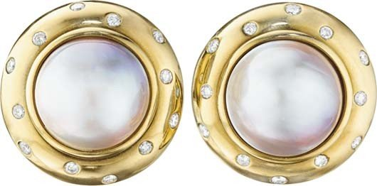 7: A Pair of Cultured Pearl and Diamond Earclips