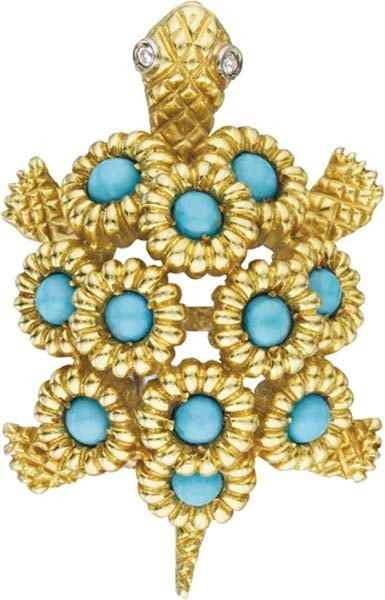 20: A Turquoise and Gold Turtle Brooch