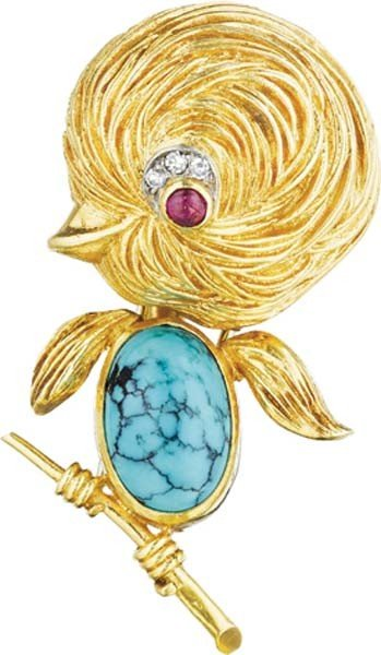 21: VAN CLEEF & ARPELS, A Gold, Turquoise, Ruby and Dia