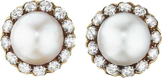 23: A Pair of Cultured Pearl and Diamond Earclips
