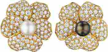 33 A Pair of Floral Diamond and Pearl Earclips