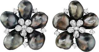 67 A Pair of Cultured Pearl and Diamond Earclips
