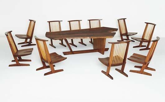 "5: GEORGE NAKASHIMA, Custom ""Sanso"" table and set of te"