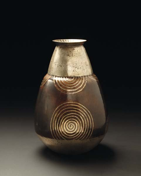 """11: JEAN DUNAND, Tall """"dinanderie"""" vase, ca. 1925"""
